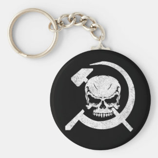 Hammer and Sickle with Skull Basic Round Button Key Ring