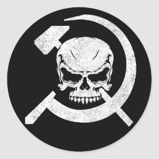 Hammer and Sickle with Skull Round Sticker
