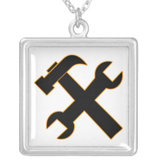 Hammer and Wrench Square Pendant Necklace