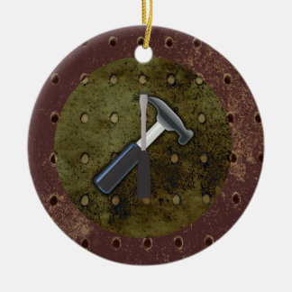Hammer, Screwdriver, Pegboard on Aged Background Christmas Ornament