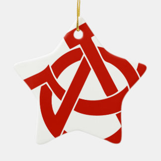 HAMMER  SICKLE ANARCHY LOGO CHRISTMAS ORNAMENT