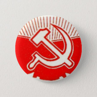 Hammer, Sickle, and Red Flags 6 Cm Round Badge