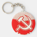 Hammer, Sickle, and Red Flags Basic Round Button Key Ring