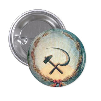 Hammer & Sickle Wheat Small, 1¼ Inch Round Button