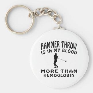 Hammer Throw Design Basic Round Button Key Ring