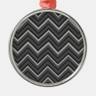 Hammered Metal Chevron City Stripes Christmas Ornament