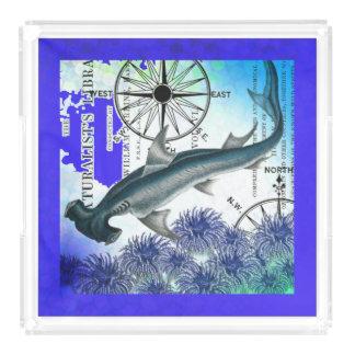 Hammerhead Shark Nautical Collage Underwater Blue Acrylic Tray