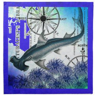 Hammerhead Shark Nautical Collage Underwater Blue Napkin