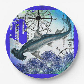 Hammerhead Shark Nautical Collage Underwater Blue Paper Plate