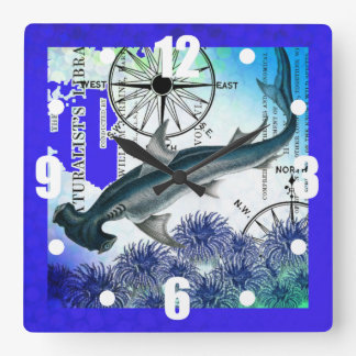 Hammerhead Shark Nautical Collage Underwater Blue Square Wall Clock