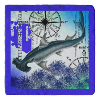 Hammerhead Shark Nautical Collage Underwater Blue Trivet