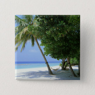 Hammock and Palm Tree 15 Cm Square Badge
