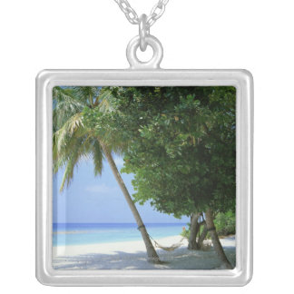 Hammock and Palm Tree Silver Plated Necklace