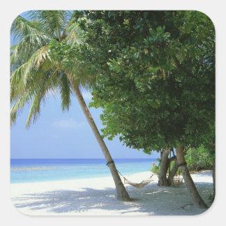 Hammock and Palm Tree Square Sticker