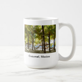 Hammock and palm trees by the ocean Coffee Cup Basic White Mug
