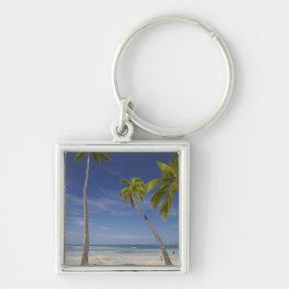 Hammock and palm trees, Plantation Island Resort Silver-Colored Square Key Ring