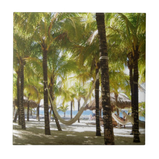 Hammock and Palm Trees Small Square Tile