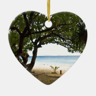 Hammock at South Sea Island, Fiji Ceramic Heart Decoration