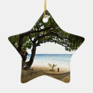 Hammock at South Sea Island, Fiji Ceramic Star Decoration