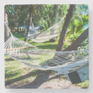 Hammock on the beach, Fiji Stone Coaster