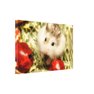 Hammyville - Cute Hamster and Red Bells Canvas Print
