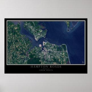 Hampton Roads Virginia From Space Satellite Map Poster