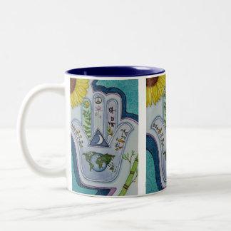 Hamsa for Peace Earth and Peoples Two-Tone Mug