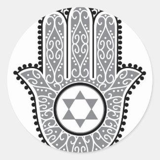 hamsa_gray.jpg classic round sticker