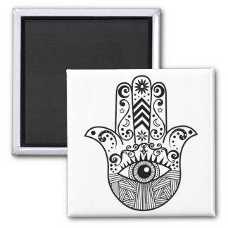 Hamsa Hand Black and White Square Magnet