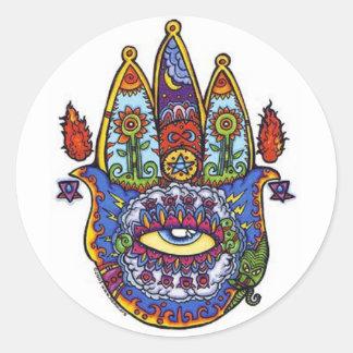 hamsa hand. classic round sticker
