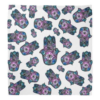 Hamsa hand drawn floral watercolor pattern bandana