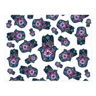Hamsa hand drawn floral watercolor pattern postcard
