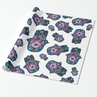 Hamsa hand drawn floral watercolor pattern wrapping paper