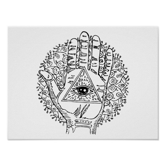 Hamsa Hand Evil Eye Adult Colouring Poster