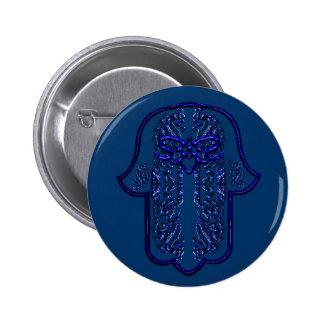 Hamsa Hand feat: Heart (Blue) 6 Cm Round Badge