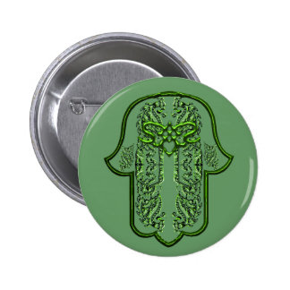 Hamsa Hand feat: Heart (Green) 6 Cm Round Badge