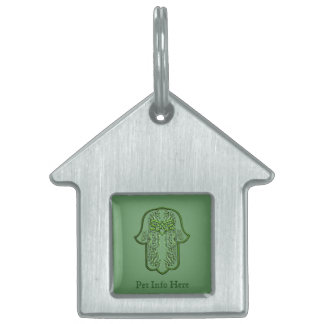 Hamsa Hand feat: Heart (Green) Pet ID Tag