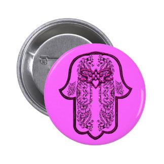 Hamsa Hand feat: Heart (Pink) 6 Cm Round Badge