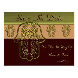Hamsa Hand feat: Heart  (Wedding) (Golden) Postcard