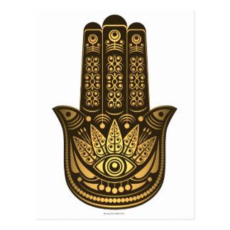 Hamsa Hand Gold Evil Eye Spiritual Postcard