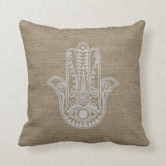 HAMSA Hand of Fatima symbol amulet Cushion