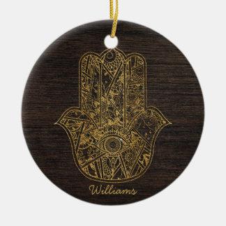HAMSA Hand of Fatima symbol amulet design Christmas Ornament