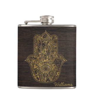 HAMSA Hand of Fatima symbol amulet design Hip Flask