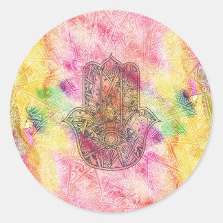HAMSA Hand of Fatima symbol amulet Henna floral Classic Round Sticker