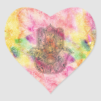 HAMSA Hand of Fatima symbol amulet Henna floral Heart Sticker