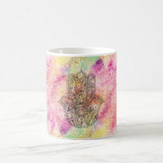 HAMSA Hand of Fatima symbol amulet Henna floral Basic White Mug
