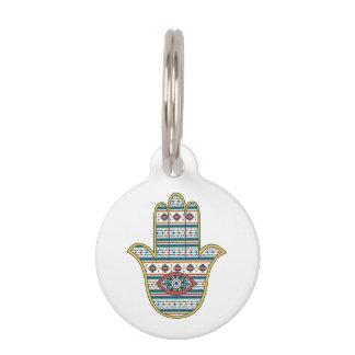 HAMSA Hand of Fatima symbol amulet, tribal Aztec Pet Name Tag