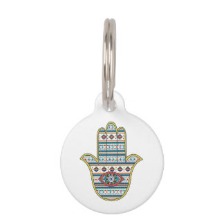 HAMSA Hand of Fatima symbol amulet, tribal Aztec Pet Tag