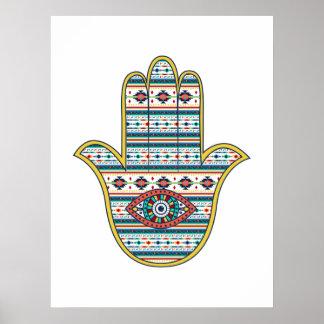 HAMSA Hand of Fatima symbol amulet, tribal Aztec Print