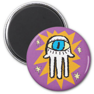 Hamsa Hand of God Gold and Purple 6 Cm Round Magnet
